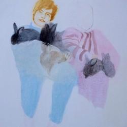 Калина Мавродиева- семеен портрет със зайци