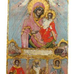 Св. Богородица неувяхваща роза с префигурации, и светци