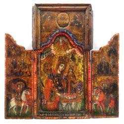 Св. Богородица неувяхваща роза с префигурации, новозаветна света Троица и светци