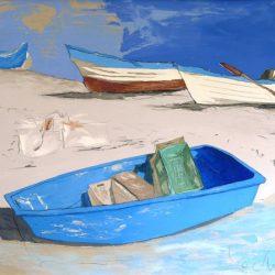 Георги Лечев - Лодки на пясъка, маслени бои, платно, 70 х 80 см