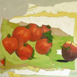 Георги Лечев - Червени домати на зелена маса, маслени бои, платно, 80 х 90 см