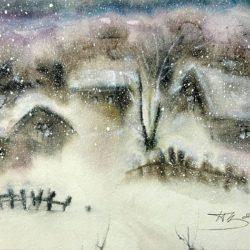 Сава Цоновски -акварел Зима