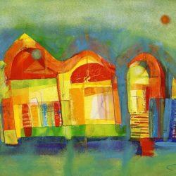 Стоян Чуканов - След дъжд, акварел, хартия 50 x 70 см.