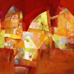 Стоян Чуканов - Съседство, акварел, хартия 50 x 70 см.