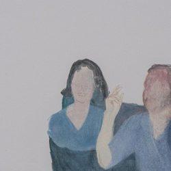 Калина Мавродиева - Летни нощи на масата, 11 х 21 см, маслени бои върху хартия, 2014г